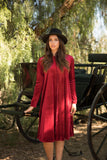 Burgundy Raw Edge Velvet Dress