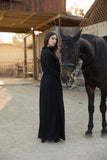 Black Side Button Maxi