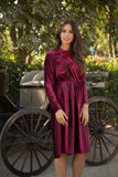 Burgundy Snakeskin Velvet Dress