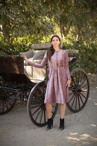 Mauve Snakeskin Velvet Dress
