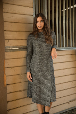 Charcoal Ribbed Turtleneck Overlay Dress