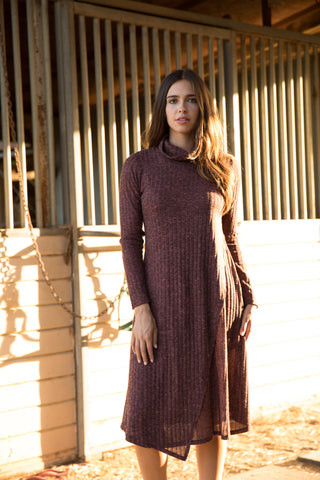 Mauve Ribbed Turtleneck Overlay Dress
