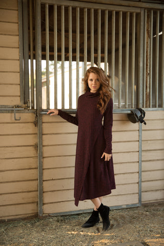 Wine Ribbed Turtleneck Overlay Dress