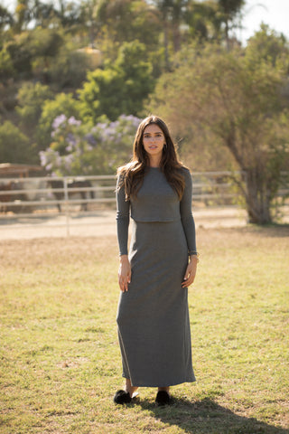 Charcoal Ribbed Maxi (nursing friendly)
