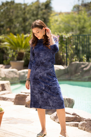 Marine Tie Dye Ribbed Dress (Nursing Friendly)