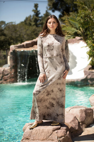 Sand Tie Dye Ribbed Maxi (Nursing Friendly)
