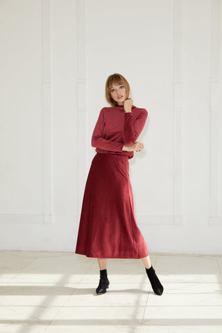 Burgundy Ribbed Velvet Midi Skirt