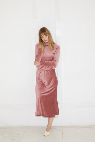 Mauve Ribbed Velvet Midi Skirt