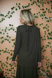 Olive Ribbed Tie Back Top