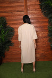 Natural Linen Pleat Dress