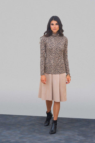 Camel Suede Panel Skirt