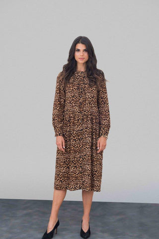 Leopard Crepe Shirt Dress