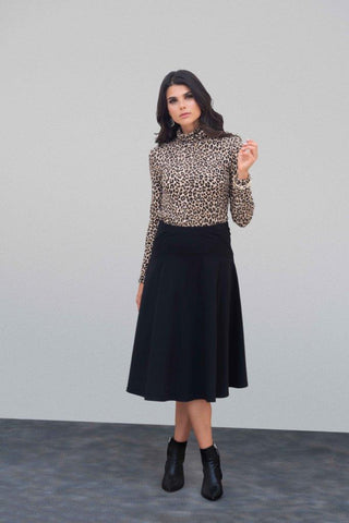 Black Ponte Stitch Skirt