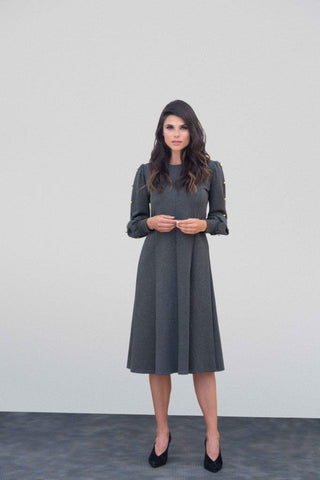 Charcoal Ponte Button Dress