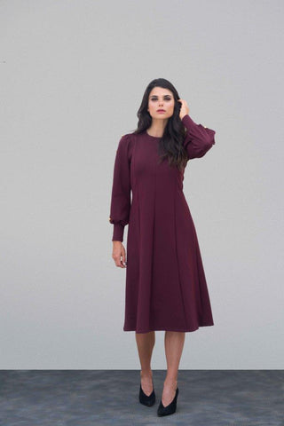 Merlot Ponte Button Dress
