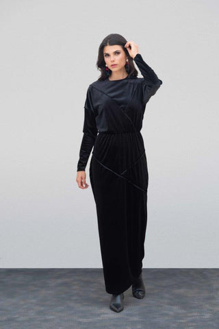 Black Velvet Raw Edge Maxi Dress