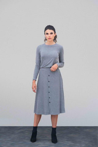Heather Gray Ribbed Button Set