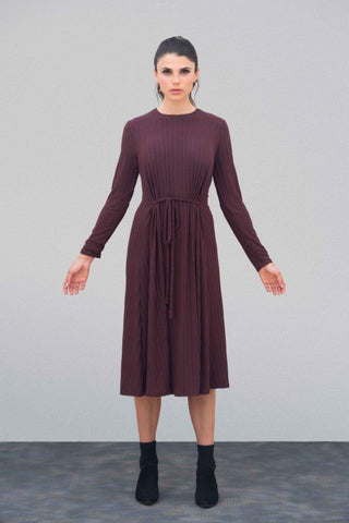 Wine Ribbed Belt Dress