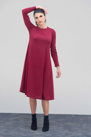 Heather Merlot Sweater Flare Dress