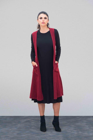 Heather Merlot Cardigan Vest
