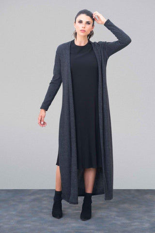 Charcoal Vented Maxi Cardigan