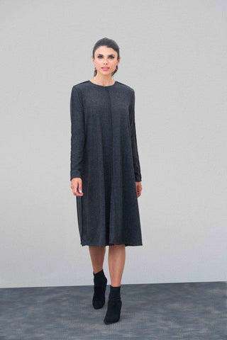 Charcoal Raw Edge Sweater Dress
