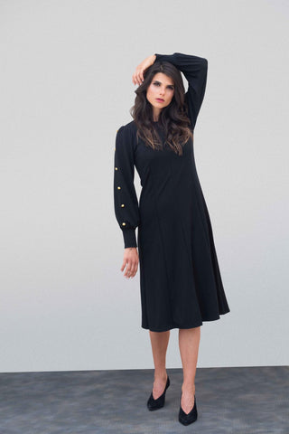 Black Ponte Button Dress