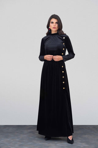 Black Velvet Button Down Maxi
