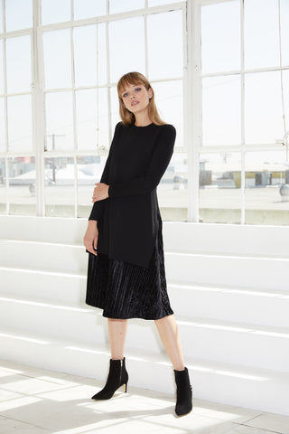 Mix media dress black