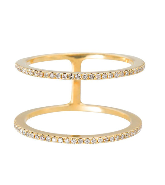 14k Double Pave Diamond Half Eternity Ring
