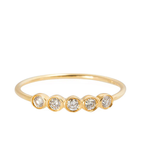 14k Five Bezel Set Diamond Ring