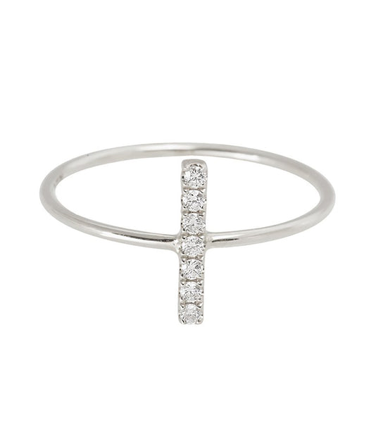 14k Pave Diamond Bar Ring