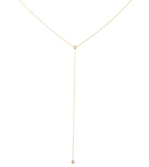 14k Bezel Set Diamond Drop Lariat
