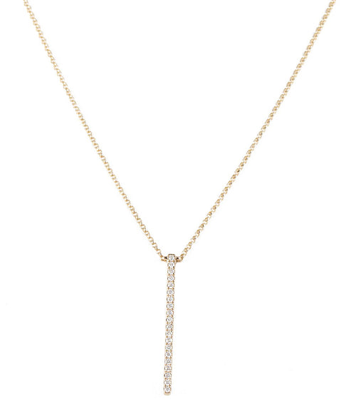 14k Pave Diamond Vertical Bar Pendant Necklace