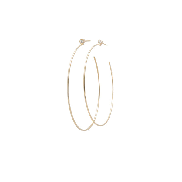 14k Bezel Set Diamond Hoop Earrings