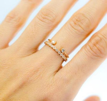 14k Two Bezel Set Open Diamond Ring