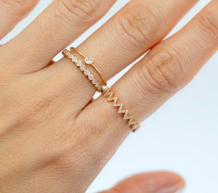 14k Pave Diamond Zig Zag Ring