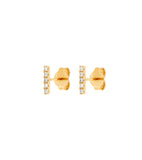 14k Pave Diamond Bar Stud Earrings