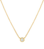 14k Single Bezel Set Diamond Necklace