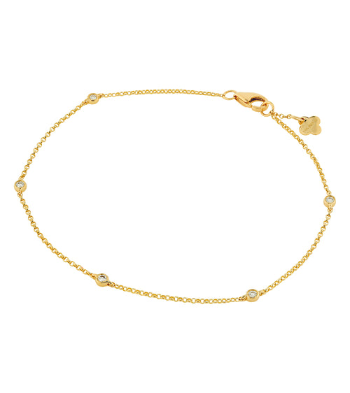 14k Five Bezel Set Diamond Bracelet
