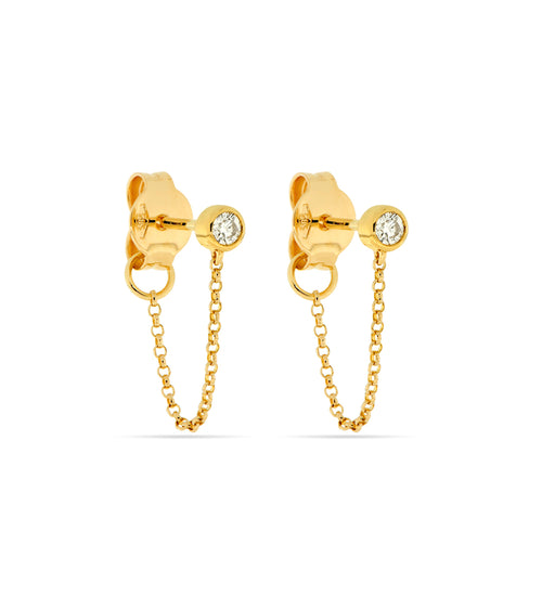 14k Bezel Set Diamond Earrings with Drop Chain