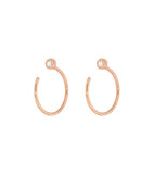 14k Bezel Diamond Open Hoop Earrings