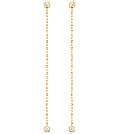 14k Bezel Set Diamond Dangle Earrings