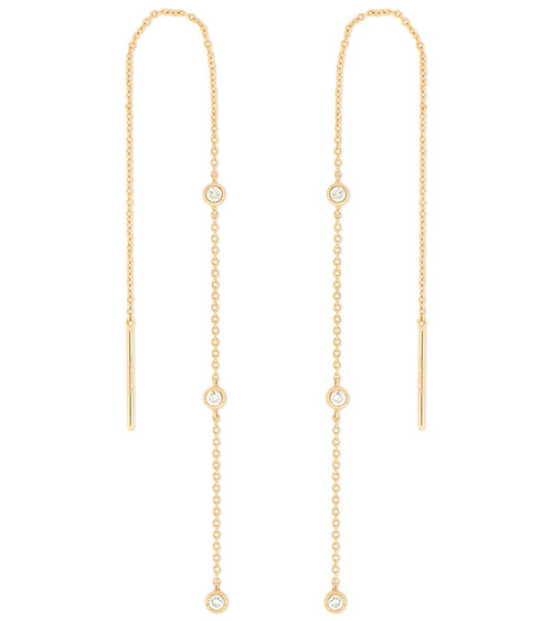 14k Bezel Diamond Threader Earrings