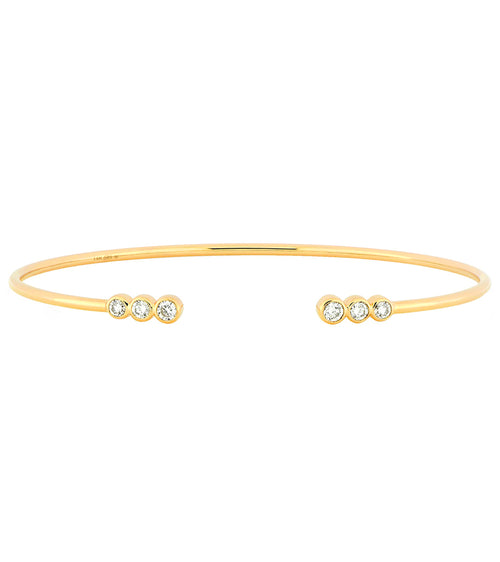 14k Bezel Set Diamond Cuff Bracelet