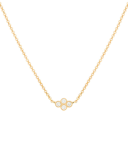 14k Four Bezel Diamond Necklace