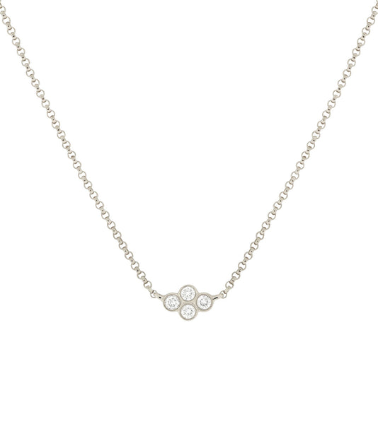 14k Four Bezel Set Diamond Necklace