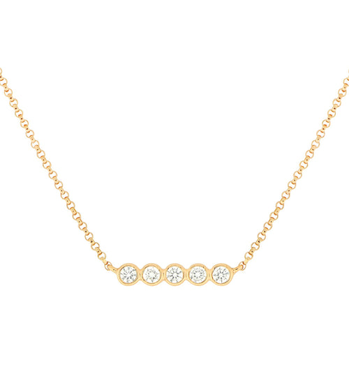 14k Five Bezel Diamond Necklace