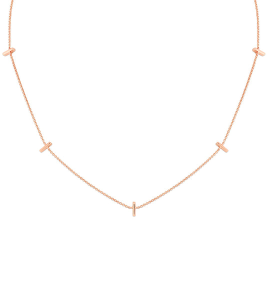 14k Five Petite Bar Necklace