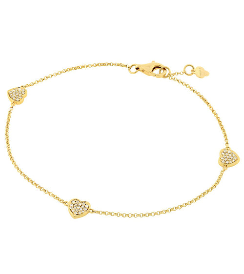 14k Three Pave Diamond Heart Bracelet